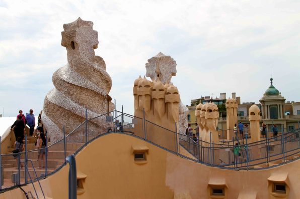 A wide angle view of the roof at La Pedrera