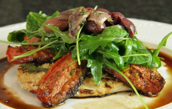 Provençale inspired chicken breasts with roasted tomatoes