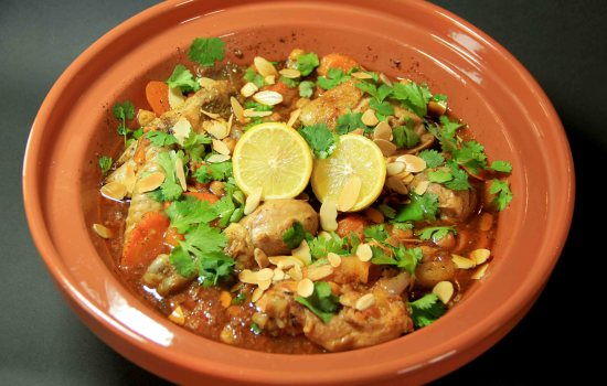 Moroccan chicken tagine with chickpeas and apricots