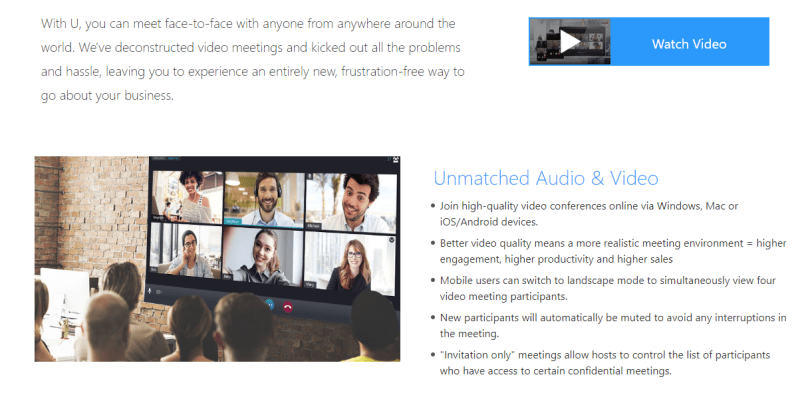 Cyperlink U Meeting is another top video conferencing software that works seamlessly on desktop and mobile devices.