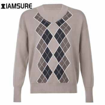 IAMSURE Argyle Plaid Knitted Long Sleeve Pullover Sweater For Women Y2K Cute Preppy Style Female Casual Loose 90s Christmas