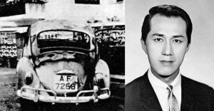 Lam Bun, left and his car after the attack, right