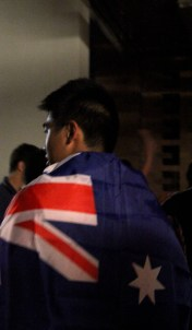 Some were getting into the Aussie spirit by draping Australian flags over themselves.