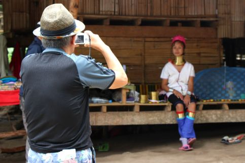 Tourists pay 500 Thai baht (US$16.50) to see the long-neck Padaung women in these villages.