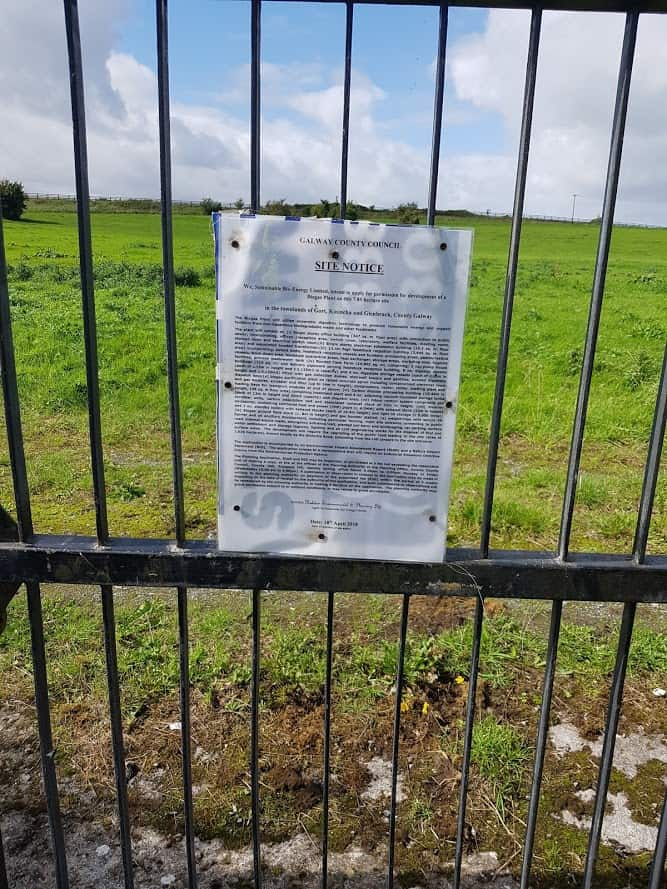 Image of Site Notice Gort Bio Gas Plant