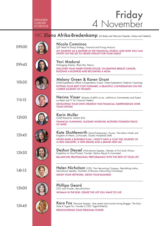 Speakers Corner Schedule Friday 4 November