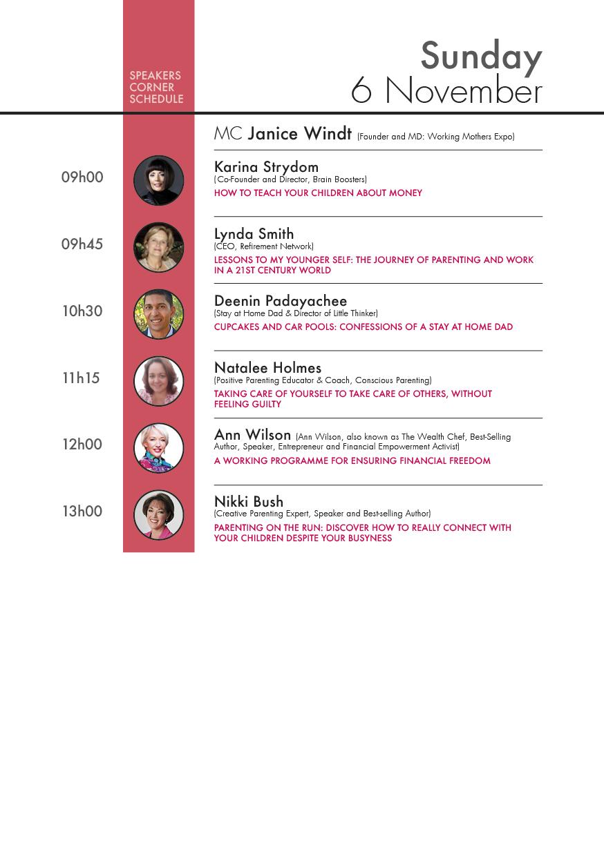 Speakers Corner Schedule Sunday 6 November