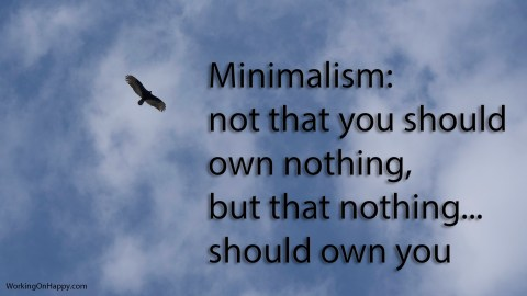 Minimalism is not that you should own nothing... but that nothing should own you.