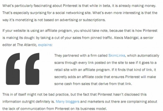 Atlantic Magazine comments on Pinterests (early lack of full) TOS disclosure