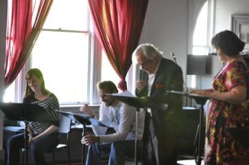"Reading of ""The Toilet Paper Caper"" at Firehall Arts Centre, 2013. L-R, Michelle Deines, Sebastian Kroon, Alec Willows, Kathryn Kirkpatrick. Photo by Chuk Foto."