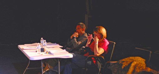 Henry W. Kimmel and Patricia Henritze rehearse for an Ethel Woolson Lab reading of Kimmel's DIVIDED AMONG THEMSELVES