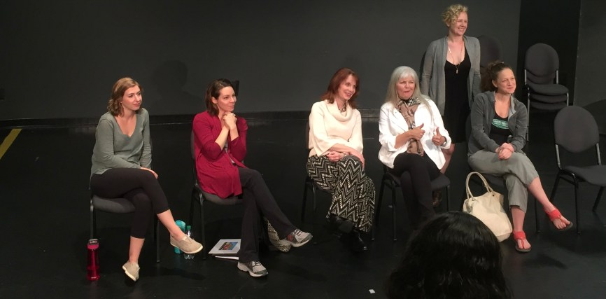 Maggie Birgel, Ann Marie Gideon, Shannon Eubanks, Sherry Camp Paulsen, Rachel Parish and Amber Bradshaw at the Ethel Woolson Lab talkback session of Sherry Camp Paulsen's, TIME FLIES