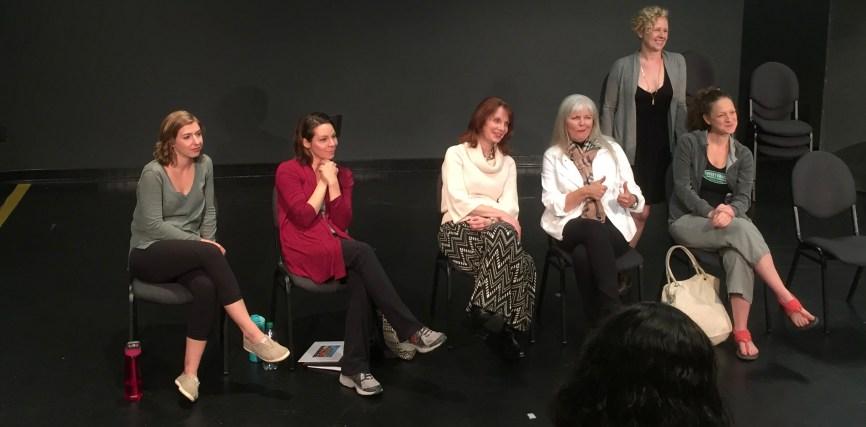 Maggie Birgel, Ann Marie Gideon, Shannon Eubanks, Sherry Camp Paulsen, Rachel Parish and Amber Bradshaw at the Ethel Woolson Lab talkback session of Sherry Camp Paulsen's, TIME FLIES