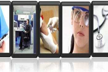 a gallery line of typical occupational health images including a yellow hard hat, ear defenders and images of nurse