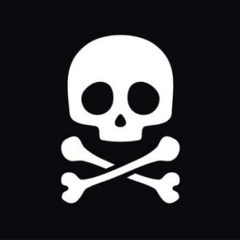 A white skull and crossbones painted on a black background