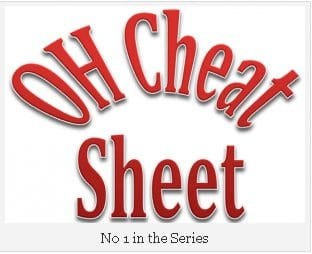 The words OH Cheat Sheet picked out in large red letters