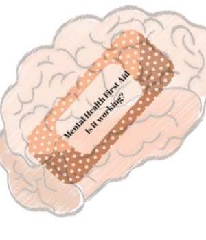 Image of brain with plaster on it