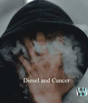 Hooded man breathing diesel smoke