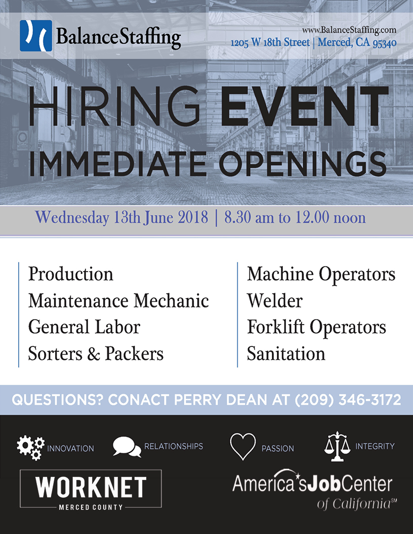 Wednesday, June 13th 2018 Balance Staffing Hiring Event 8:30 a.m. to 12:00 p.m.