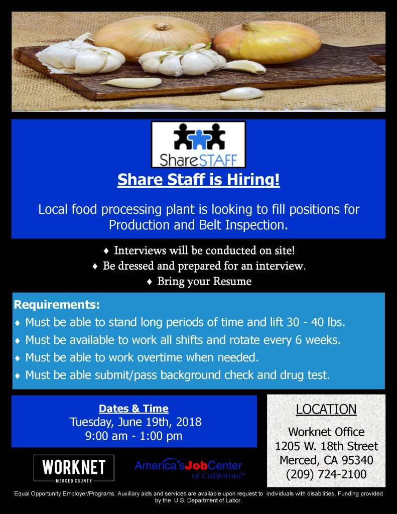 Tuesday, June 19, 2018 Share Staff Hiring Event 9:00 a.m. to 1:00 p.m.
