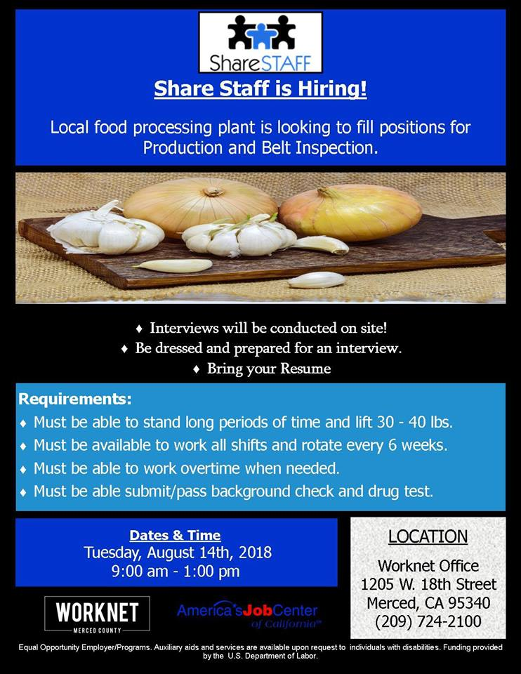 Tuesday, August 14, 2018 Share Staff Hiring Event