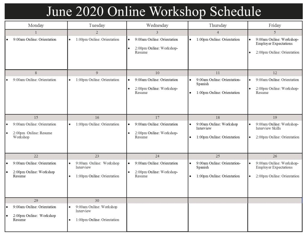 June 2020 Workshop Schedule