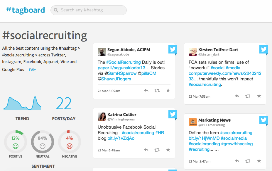 Hashtags search on Tagboard