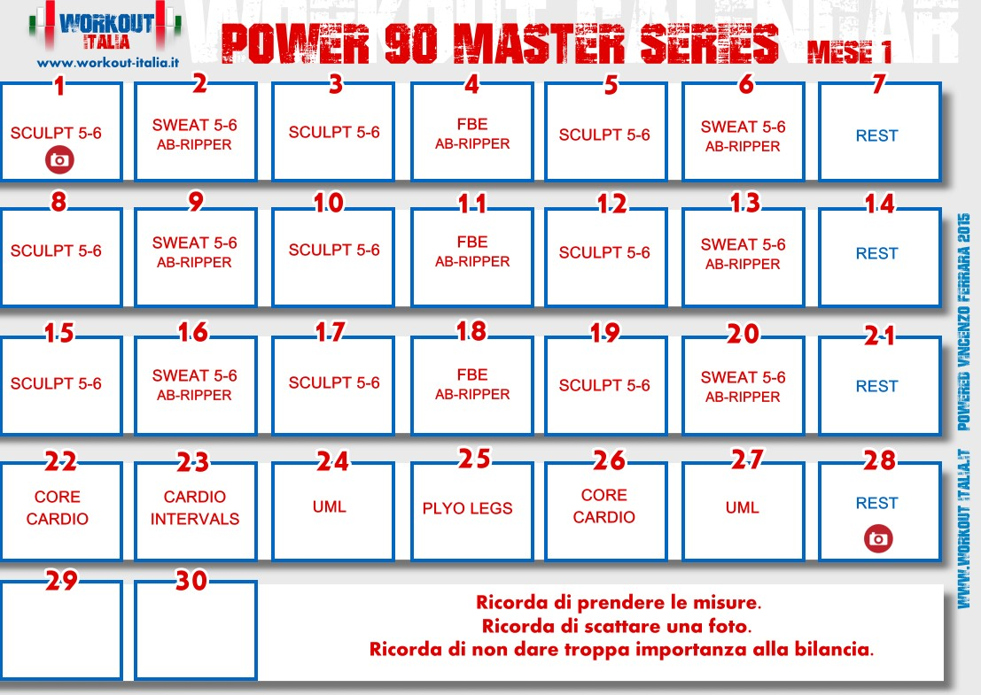 Power 90 Master Series Workout Sheets