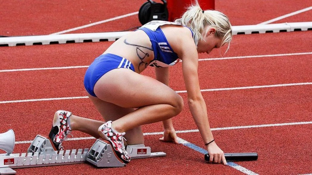 Woman doing speed training on track