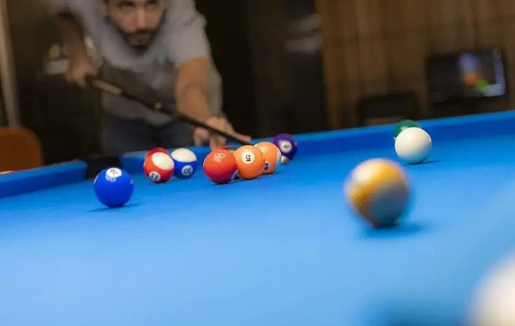 pool player practicing
