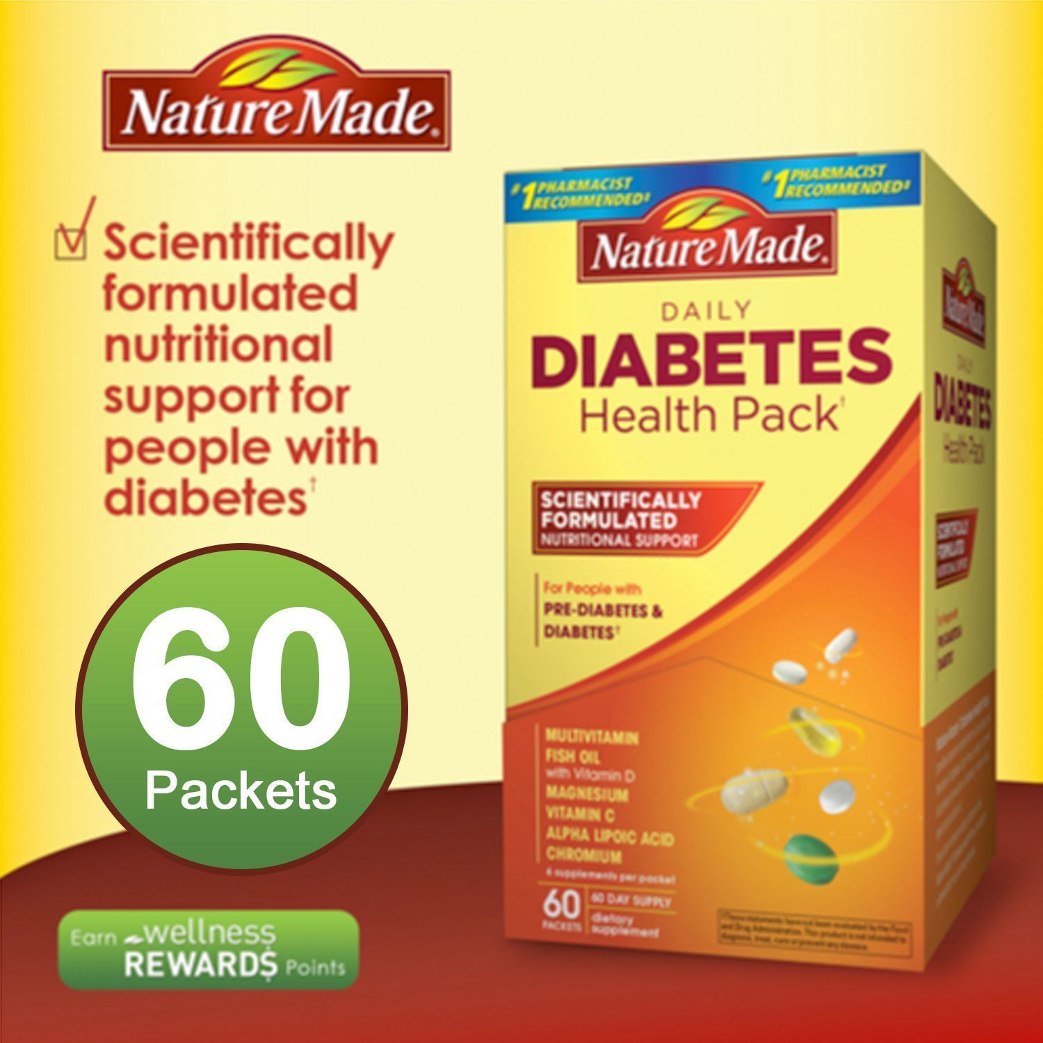 Nature Made Diabetic Health Pack 60 Packets 6 Supplements Packet