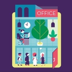 Illustration of older workers in an office