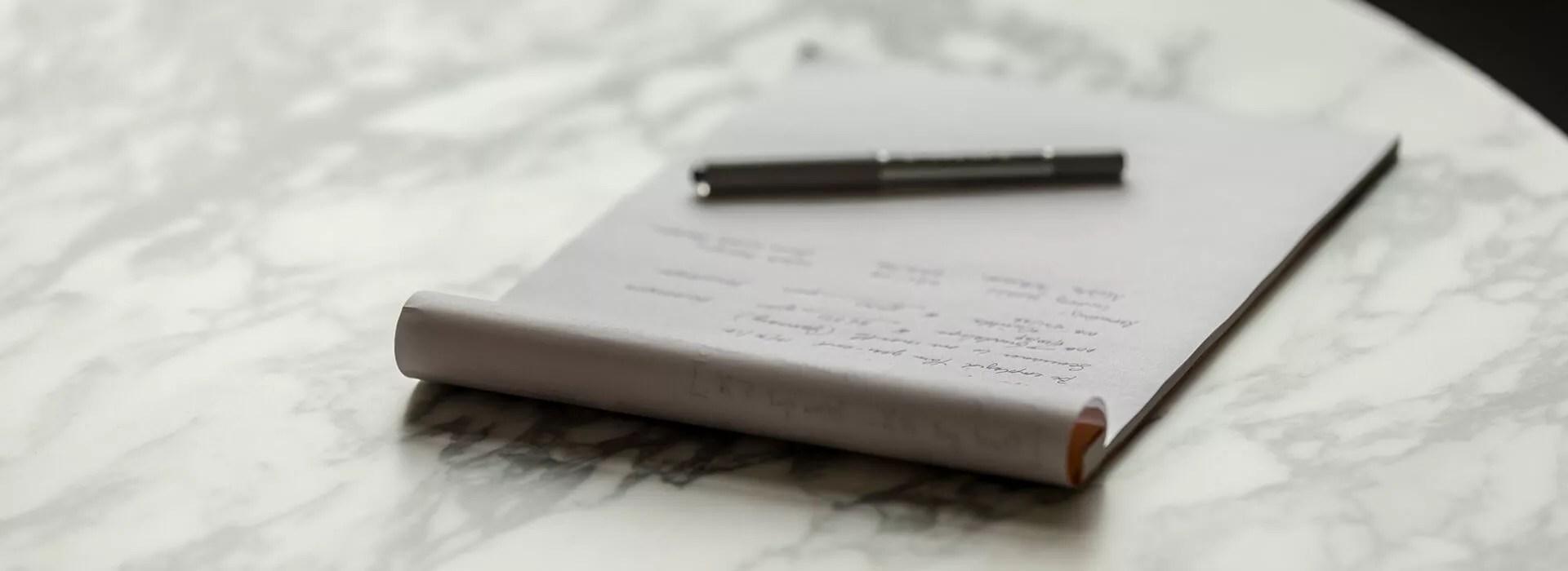 Close up of notepad