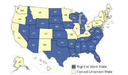 Right To Work Map 2016