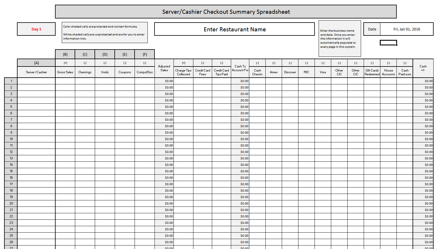 Server Cash Checkout Spreadsheet
