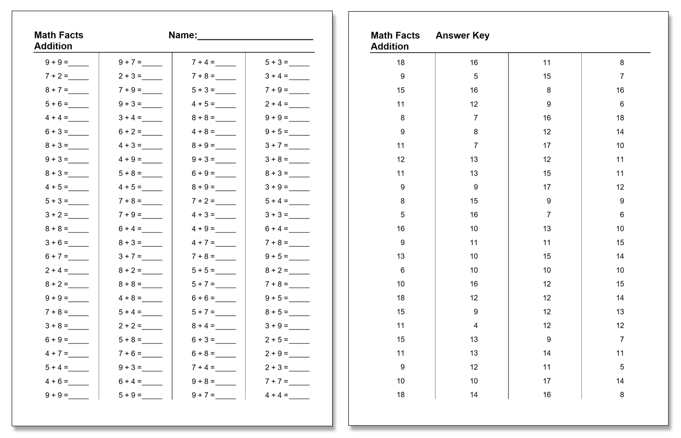 Math Facts Worksheet Generator Just Another Stephen