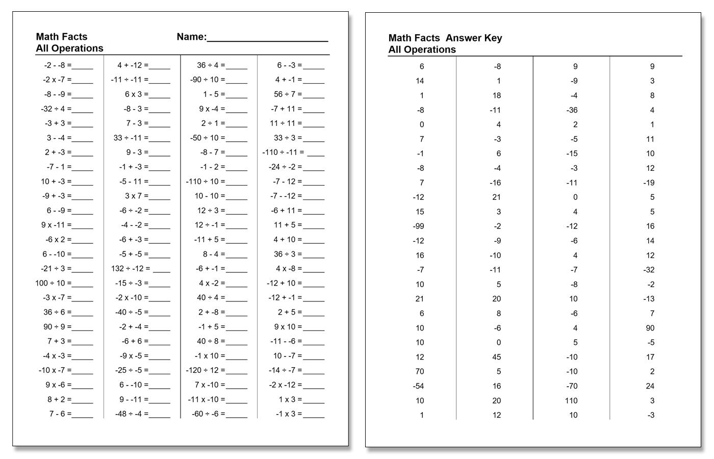 Worksheet Examples Math Facts Worksheet Generator