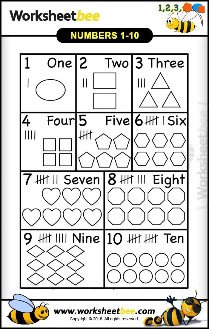 photo relating to Numbers 1-10 Printable known as Figures 1 toward 10 in just Designs Printable Worksheet - Worksheet Bee