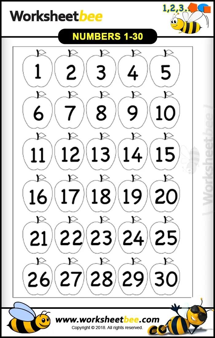 Printable Worksheet Numbers 1 30 - Worksheet Bee