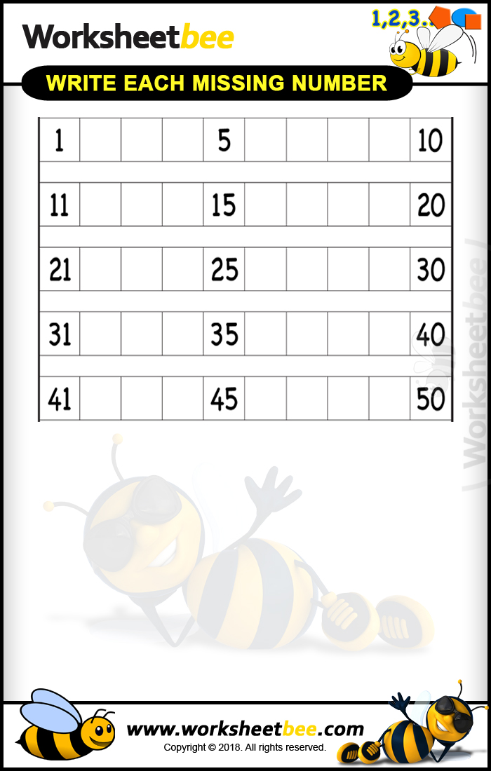 Printable Worksheet for Kids About to Write Each Missing Numbers 1 ...