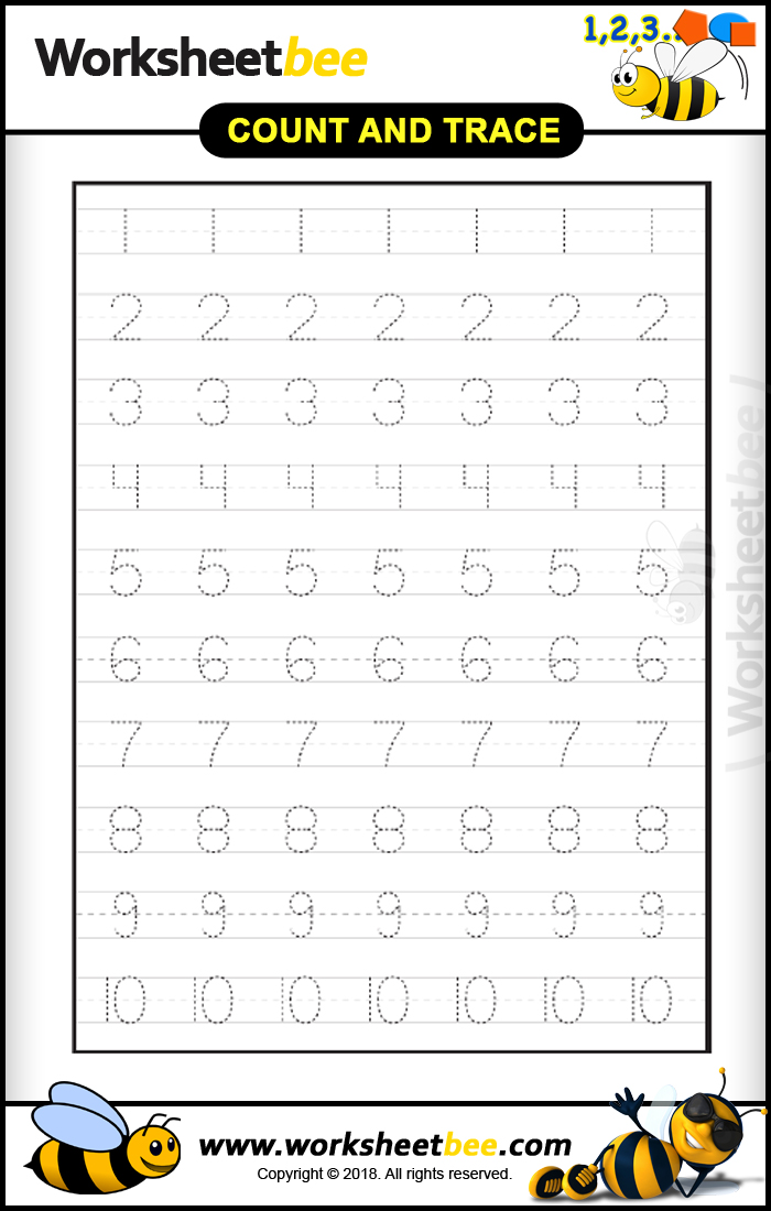 Printable Count And Trace Numbers 1 10 For Kids - Worksheet Bee