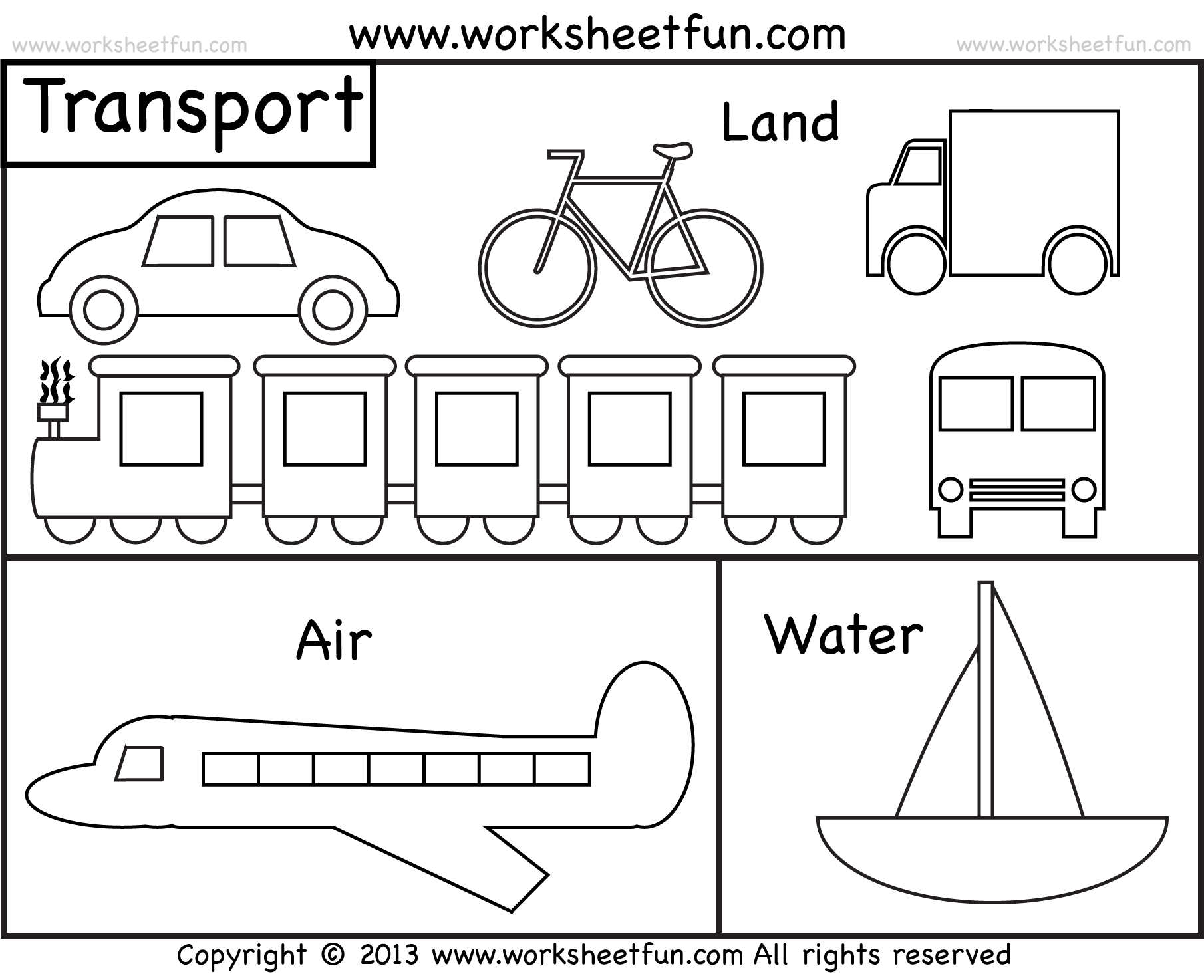 Means Of Transportation Air Land And Water Kindergarten And Preschool 2 Worksheets Free