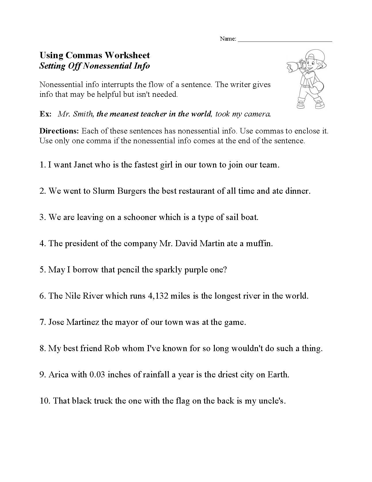 Punctuation Worksheets