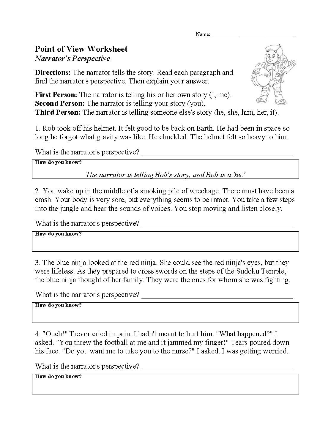 Point Of View Worksheet