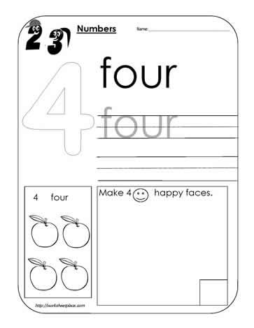 Number 4 Worksheet Worksheets