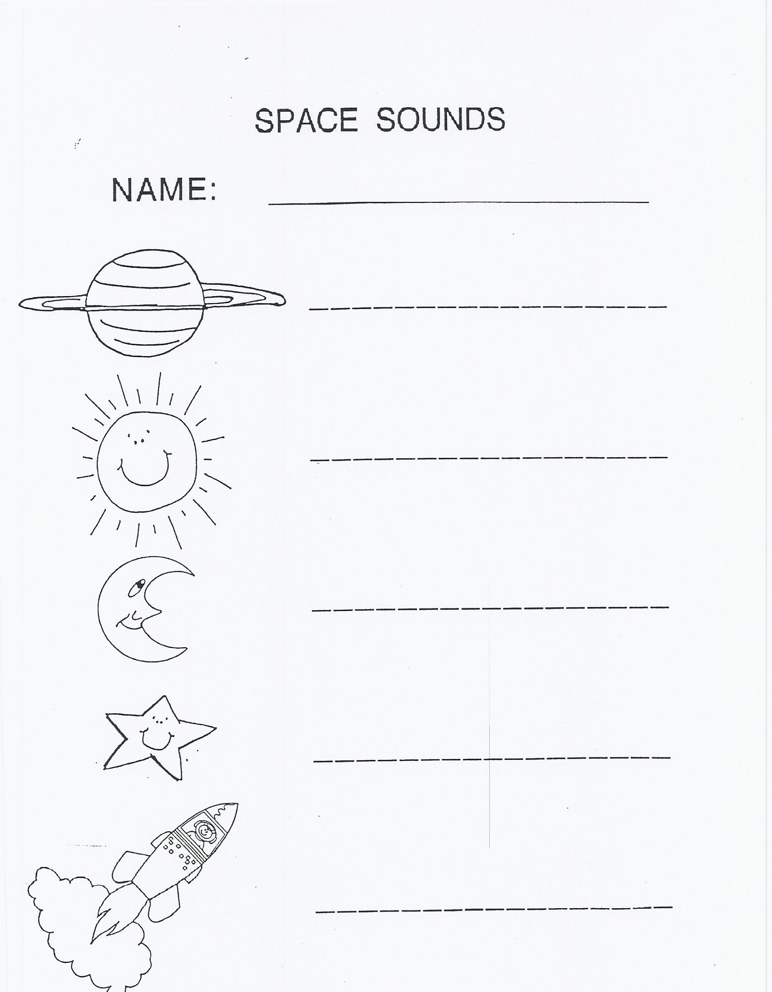 Outer Space Worksheets For Kids Writing