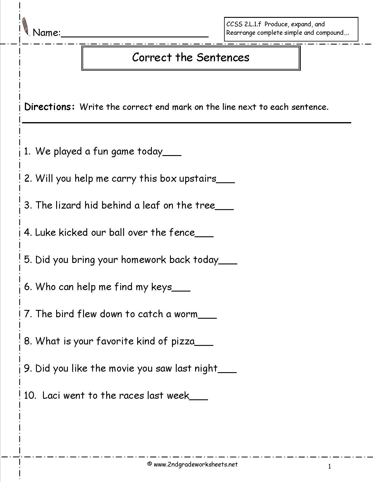 Free Second Grade Worksheets