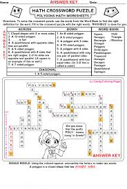 Fun Math Crossword Puzzles Worksheets On Worksheets Ideas