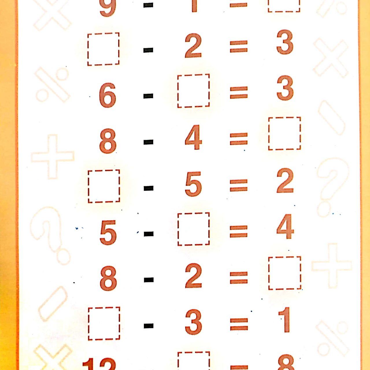 Download Free Printable Subtraction Worksheets