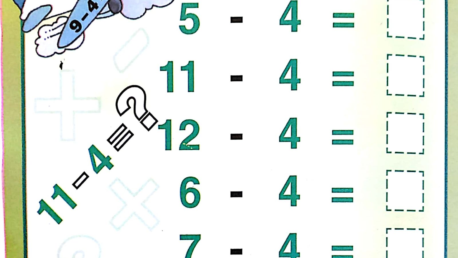 Download Free Printable First Grade Subtraction